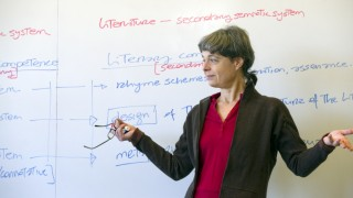 Instructor standing in front of whiteboard, looking off-camera with arms held out to her sides